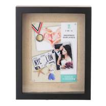 UMICAL 8.5x11 Shadow Box Display Case - Deep Shadowbox Picture Frame with Linen Board and 8 Stick Pins - 3D Showcase Keepsake Art Graduation Baby Wedding Memorabilia - Wall Hanging & Free Standing