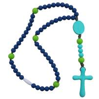 Chews Life - Teething Rosary Beads - Baptism Gift & Mass Toy for Catholic Girls & Boys, Handmade, Silicone Beads & Organic Cotton Cord - CPSIA Certified Safe - Navy & Green