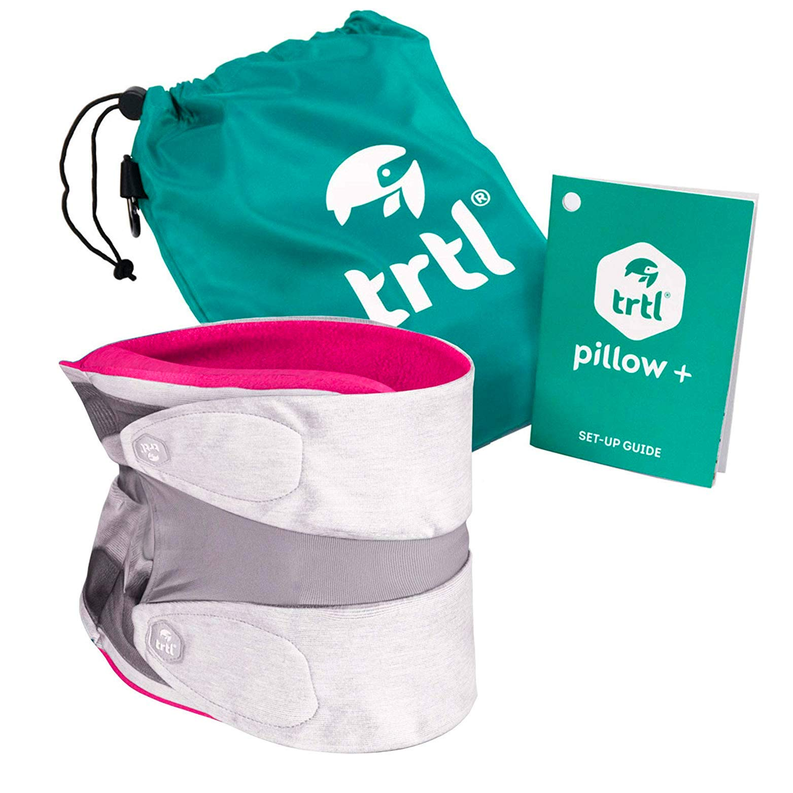 trtl Pillow Plus, Travel Pillow - Fully Adjustable Neck Pillow for Airplane Travel, Car, Bus and Rail. (Pink) Includes Water Proof Carry Bag and Setup Guide Travel Accessories