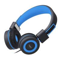 Elecder i37 Kids Headphones Children Girls Boys Teens Foldable Adjustable On Ear Headphones 3.5mm Jack Compatible iPad Cellphones Computer MP3/4 Kindle Airplane School Tablet Black/Blue