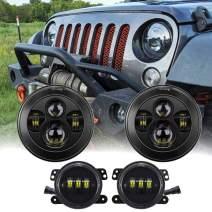"7 Inch Black LED Headlights + 4"" LED Fog Lights for 1997-2017 Jeep Wrangler K JKU TJ LJ Rubicon Sahara Unlimited"
