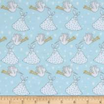 Mook Fabrics Storks Flannel Fabric, Blue, Fabric By The Yard