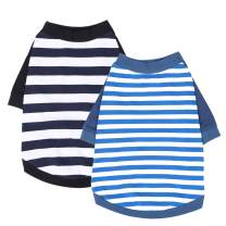 Wolspaw 2-Pack Striped Dog Shirt 100% Cotton Pet Clothes Puppy T-Shirts Cat Tee Breathable Strechy,Blue Black XS