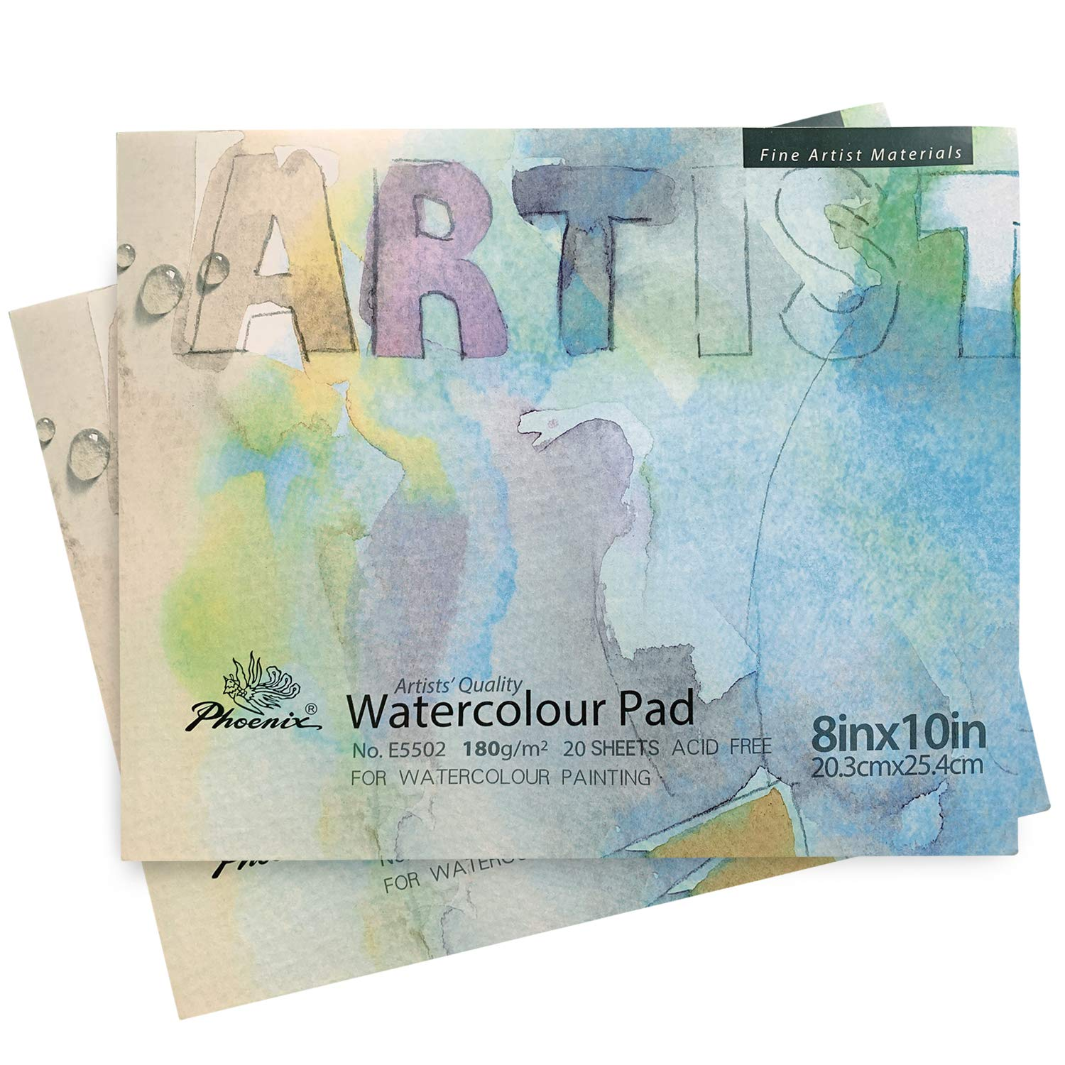 PHOENIX Watercolor Paper Pad - 8x10 Inch/2 Pack - 1/3 Inch Thick 20 Sheets Art Pad, Hot Pressed Painting Paper for Water Soluble Paints