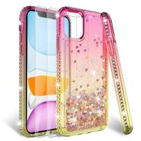 HATOSHI iPhone 11 Case 6.1'' with Screen Protector Tempered Glass [2 Pack] for Girls Women, Liquid Glitter Sparkle Bling Clear Cute Protective Phone Cover for iPhone 11 2019 (6.1 Inches) -Pink/Gold