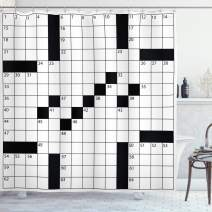 "Ambesonne Word Search Puzzle Shower Curtain, Blank Newspaper Style Crossword Puzzle with Numbers in Word Grid, Cloth Fabric Bathroom Decor Set with Hooks, 75"" Long, Monochrome"