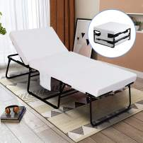 """mecor Adjustable Folding Bed, Rollaway Guest Bed with Adjustable Head Incline (0°-175°), 3.2 Inch Removable Mattress & Side Pocket - Heavy Duty Portable Metal Frame - Twin Size (78"""" L x 31"""" W)"""