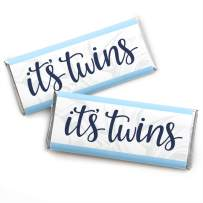 It's Twin Boys - Candy Bar Wrapper Blue Twins Baby Shower Favors - Set of 24
