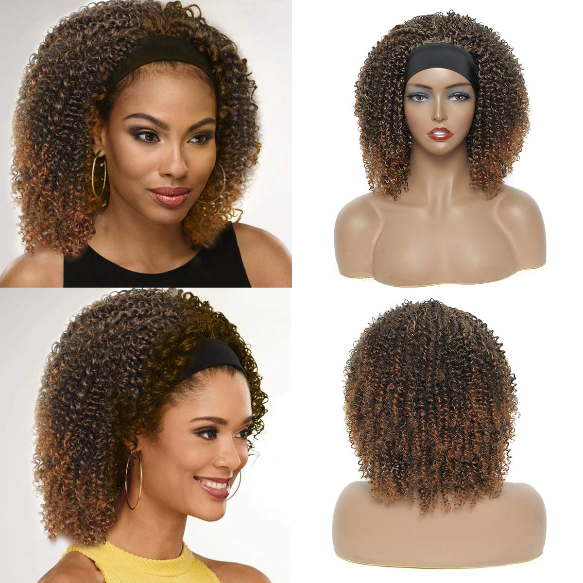 NAYOO Kinky Curly Headband Wig for Women Afro Short Curly Headband Wig Popular Ombre Synthetic Wigs with Headband Glueless None Lace Curly Wigs for Daily Use Parties and Traveling (12 inch, 1B/30)
