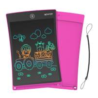 NEWYES 8.5 Inches Colorful Doodle Board for Toddlers LCD Screen Writing Tablet with Lock Function Magnetic Drawing Board Erasable Doodles Notepad for Girls Kids Ages 3+ Pink with Lanyard
