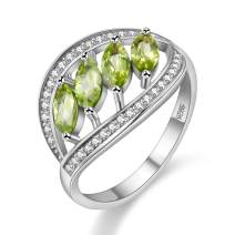 Uloveido August Birthstone Natural Peridot Anniversary Leaf Ring Sterling Silver for Women FJ110