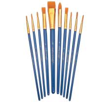 Academy Art Supply - 10 Piece Nylon Brush Set for Acrylic, Oil and Watercolor Paint