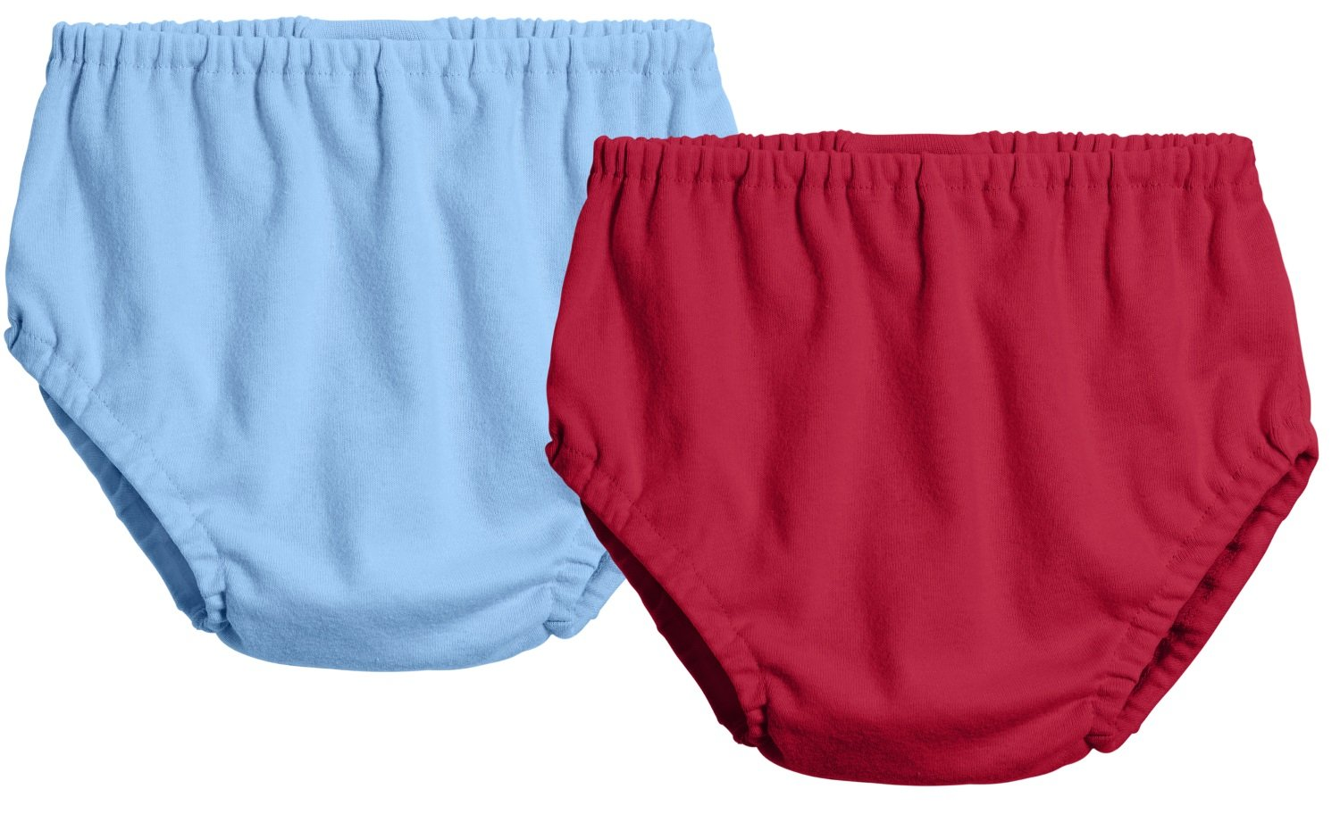 City Threads 2-Pack Baby Girls' and Baby Boys' Unisex Diaper Covers Bloomers Soft Cotton, Bright Lt. Blue/Red, Newborn