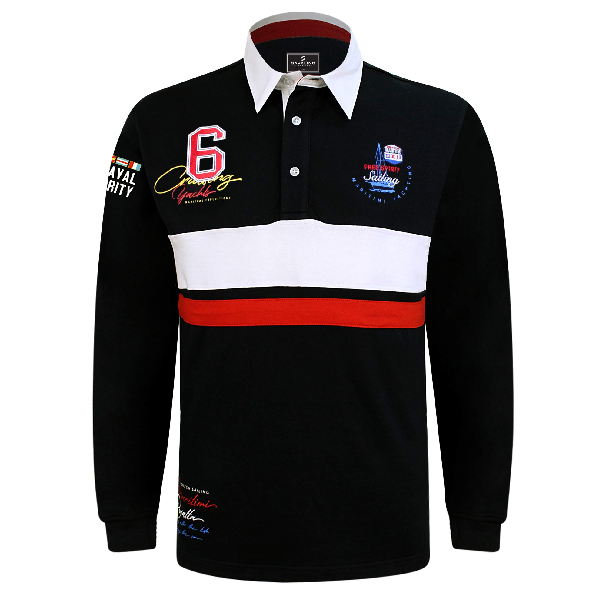 SAVALINO Men's Long Sleeve Polo Sailing Rugby Shirt with Twill Collar, Heavy Jersey, Sport & Leisure Wear, Size S-3XL