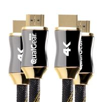 QualGear 10 Feet-2 Pack  HDMI Premium Certified 2.0 cable with 24K Gold Plated Contacts, Supports 4K Ultra HD, 3D, 18Gbps, Audio Return Channel, Ethernet (QG-PCBL-HD20-10FT-2PK)