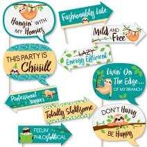 Funny Let's Hang - Sloth - Baby Shower or Birthday Party Photo Booth Props Kit - 10 Piece