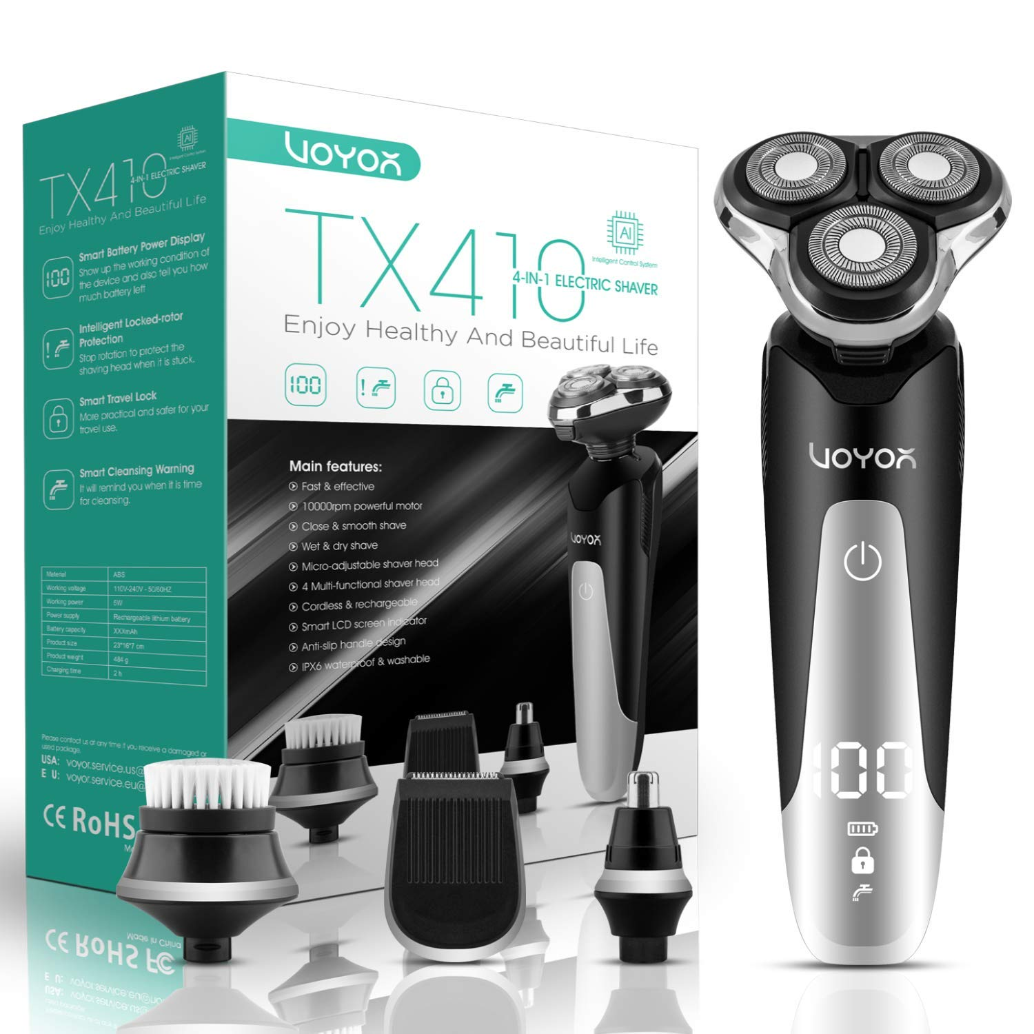 VOYOR Electric Razor for Men Rotary Shavers Rechargeable Beard Trimmer with Nose Hair Trimmer, Sideburn Mustache Trimmers and Face Brush Heads, 4 in 1 Wet and Dry Shaver Set, IPX6 Waterproof TX410