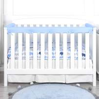 TILLYOU 3-Piece Padded Baby Crib Rail Cover Protector Set from Chewing, Safe Teething Guard Wrap for Standard Cribs, 100% Silky Soft Microfiber Polyester, Fits Side and Front Rails, Blue