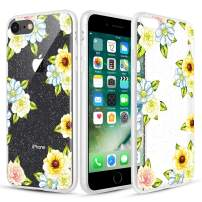Caka Clear Case for iPhone SE 2020 7 8 Floral Glitter Case Flower Pattern Sunflower Slim Girly Anti Scratch Premium Clarity TPU Crystal Protective Case for iPhone 7 8 SE 2020(4.7 inch)(Yellow Flower)