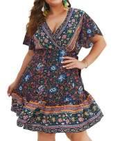 YONYWA Women Boho Maxi Dress Plus Size Floral Wrap V Neck Split Summer Party Long Dresses with Belt
