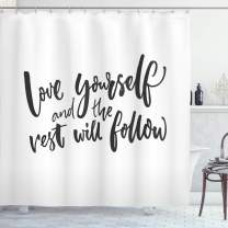 "Ambesonne Saying Shower Curtain, Love Yourself and The Rest Will Follow Motivational Phrase Wisdom Words, Cloth Fabric Bathroom Decor Set with Hooks, 84"" Long Extra, Charcoal White"