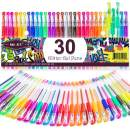 Glitter Gel Pens Color Gel Pen Set, Colored Gel Markers with 40% More Ink for Adult Coloring Books, Drawing, Journaling, Taking Note and Doodling (30 Colors)