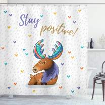 """Ambesonne Moose Shower Curtain, Words Stay Positive Motivational Deer Boho Retro Colorful Antlers Under Rain Hearts, Cloth Fabric Bathroom Decor Set with Hooks, 84"""" Long Extra, Multicolor"""