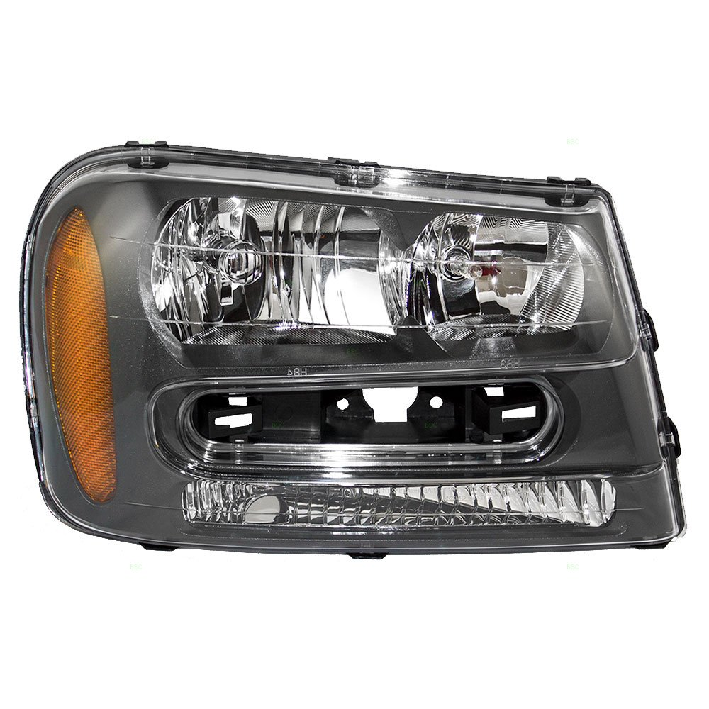 Aftermarket Replacement Passenger Headlight Assembly Compatible with 2002-2009 Trailblazer & 02-06 EXT w/Full Width Grille Bar 25970914