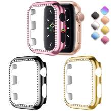 ZAROTO Bling Protective Face Bumper Case for Apple Watch 44mm Series 5 Series 4 Band, Diamond Plate Frame with Shiny Crystal Rhinestone Protector Full Cover for Women 3Pack Black/Rose Pink/Gold