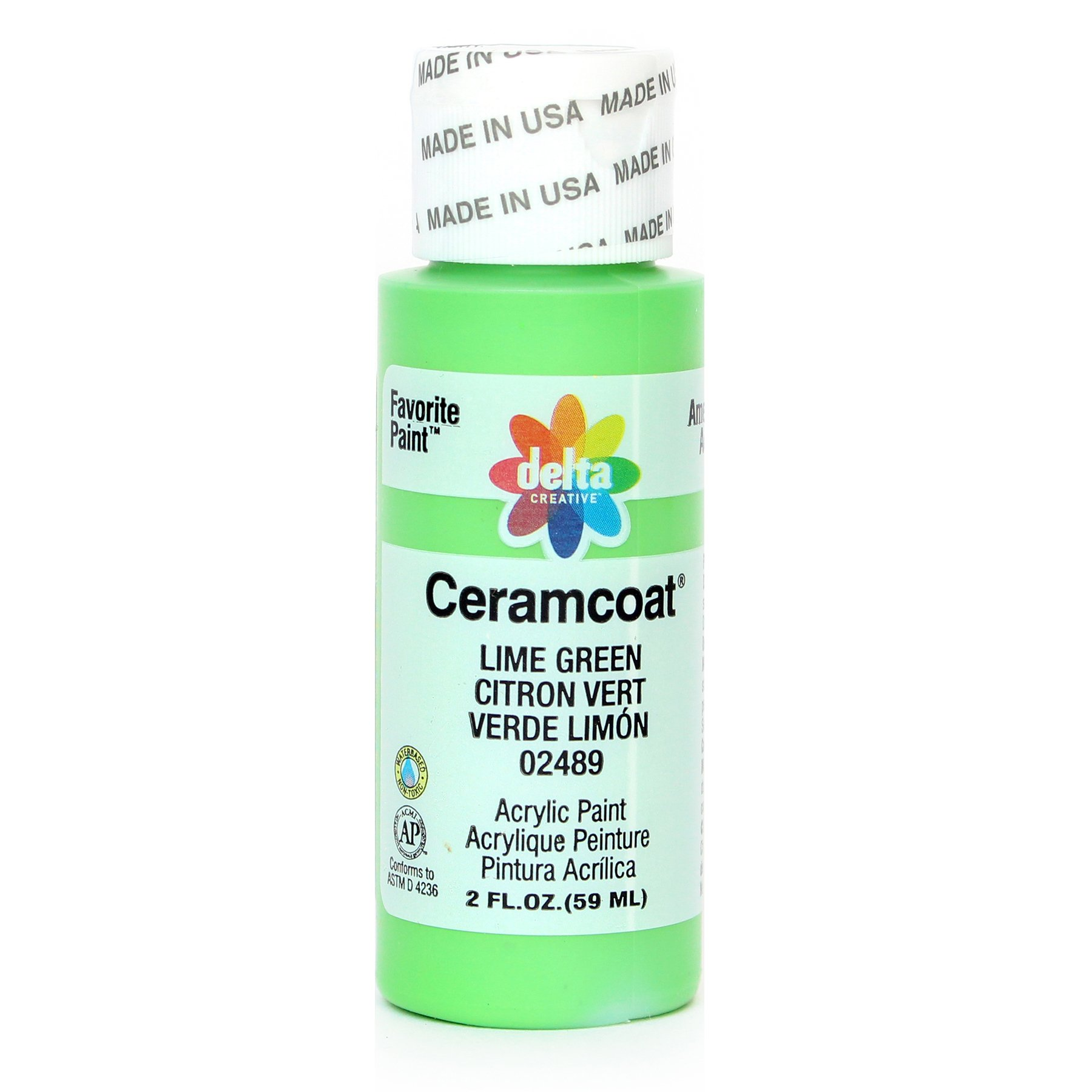 Delta Creative Ceramcoat Acrylic Paint in Assorted Colors (2 oz), 2489, Lime Green