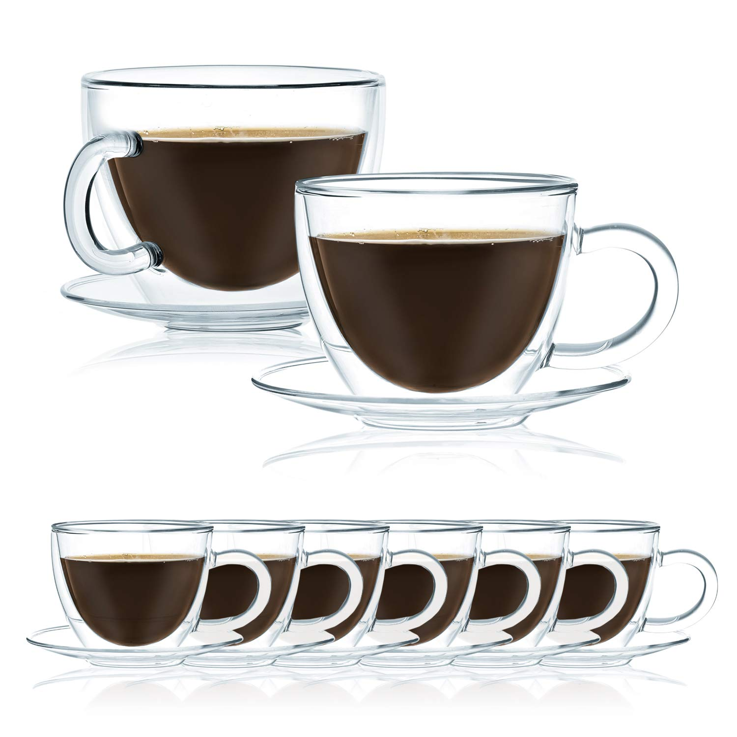 JavaFly Apia Double Wall Mug with Saucer 12 oz, 8 Pack