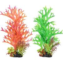 Bosmarlin Artificial Fish Tank Plants, Plastic Aquarium Plant, 2 Pack, Non-Toxic&Soft, Safe for Fish (A)