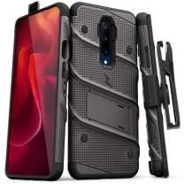 ZIZO Bolt Series OnePlus 7 Pro Case   Military-Grade Drop Protection w/Kickstand Bundle Includes Belt Clip Holster + Lanyard Metal Gray Black