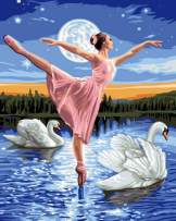 5D Diamond Painting Ballerina on Moonlight Lake Full Drill by Number Kits for Adults, SKRYUIE DIY Rhinestone Pasted Paint with Diamond Set Arts Craft Decorations (12x16inch)
