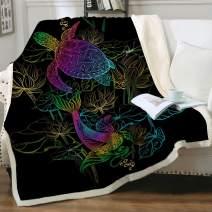 "Sleepwish Ocean Animals Plush Fuzzy Blanket Neon Koi Carps Lotus and Sea Turtle Pattern Boys Marine Creature Ultra Soft Sherpa Fleece Throw Blanket Twin(60""x80"")"