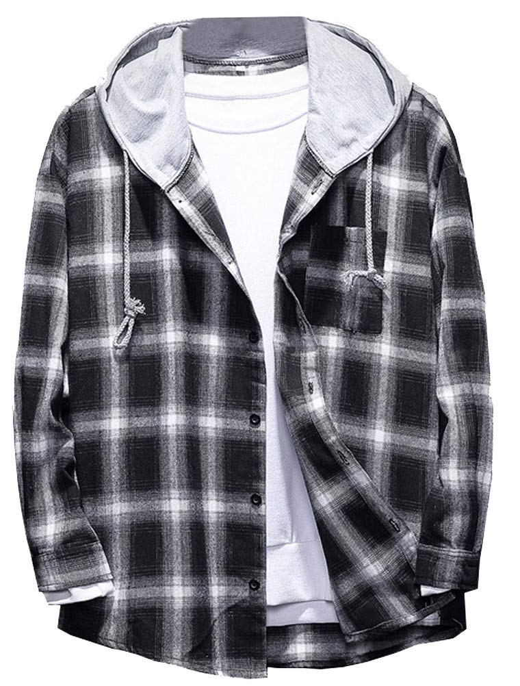Lavnis Men's Plaid Hooded Shirts Casual Long Sleeve Lightweight Shirt Jackets