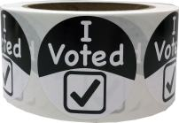 InStockLabels I Voted Stickers with Checkmark 2 Inch 500 Apparel Safe Adhesive Voting Booth Labels, Black and White