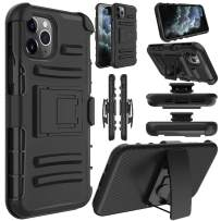 Elegant Choise Compatible iPhone 11 Pro 5.8 inch Case, Hybrid Shockproof Rugged Kickstand Holster Swivel Belt Clip Heavy Duty Full Body Rubber Bumper Armor Defender Protective Cover(Black)