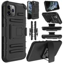 Elegant Choise Compatible iPhone 11 Pro Max Case, Shockproof Rugged Kickstand and Swivel Belt Clip Holster Hybrid Heavy Duty Full Body Rubber Bumper Armor Defender Protective Cover(Black)