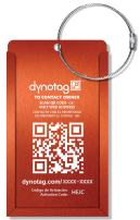 Dynotag Web Enabled Smart Aluminum Convertible Luggage ID Tag + Braided Steel Loop, with DynoIQ & Lifetime Recovery Service (Electric Orange)