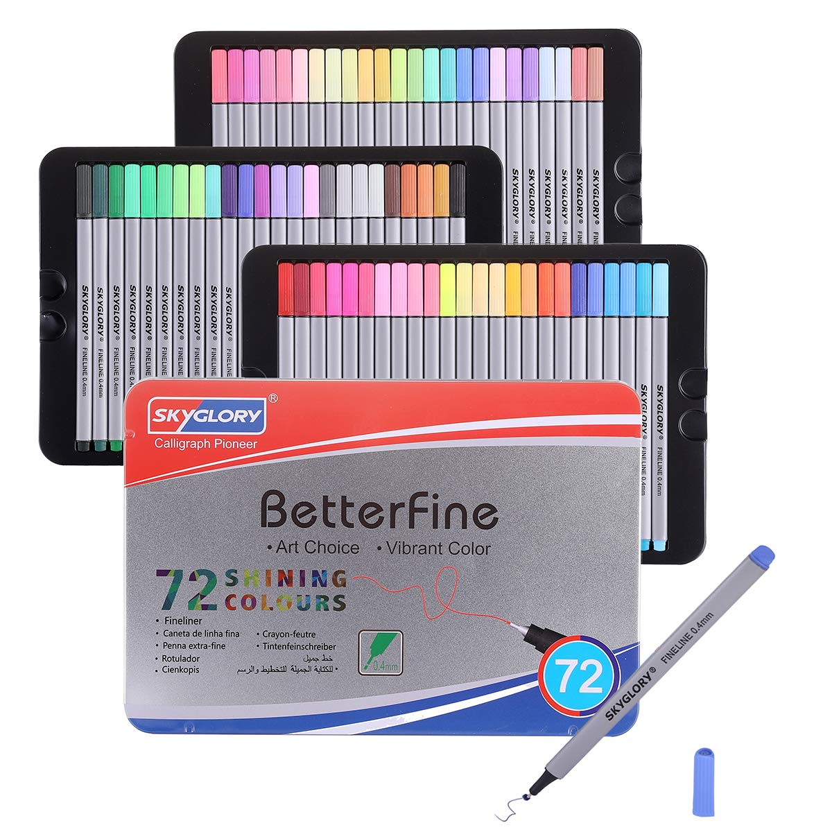 72 Color No Bleed Through Pens Markers Set 0.4 mm Fine Line Colored Sketch Writing Drawing Pen for Bullet Journal Planner Note Taking and Coloring Book
