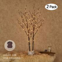 Hairui Lighted Artificial Brown Twig Tree Branch with Fairy Lights 32IN 100 LED Battery Operated Lighted Willow Branch for Christmas Easter Wedding Decoration Indoor Outdoor Use (Vase Excluded)