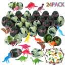 24 Pcs Easter Eggs Filled with Mini Dinosaur Figure Toys,Dinosaur Easter Eggs for Kids Easter Theme Party Favor, Easter Eggs Hunt, Easter Basket Stuffers Fillers.