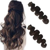 Body Wave Clip in Human Hair Extensions Curly Real Remy Hair Extensions Clip on Double Weft Full Head Soft Natural Wavy Brazilian Virgin Hair Extensions for Women Dark Brown 70g 7pcs 16 Clips 18 Inch