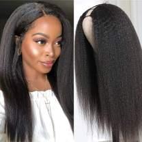 Italian Yaki U Part Wig Human Hair Brazilian Remy Glueless Kinky Straight U Part Wig for Black Women 150% Density Human Hair Wigs with Middle Part 16 Inch