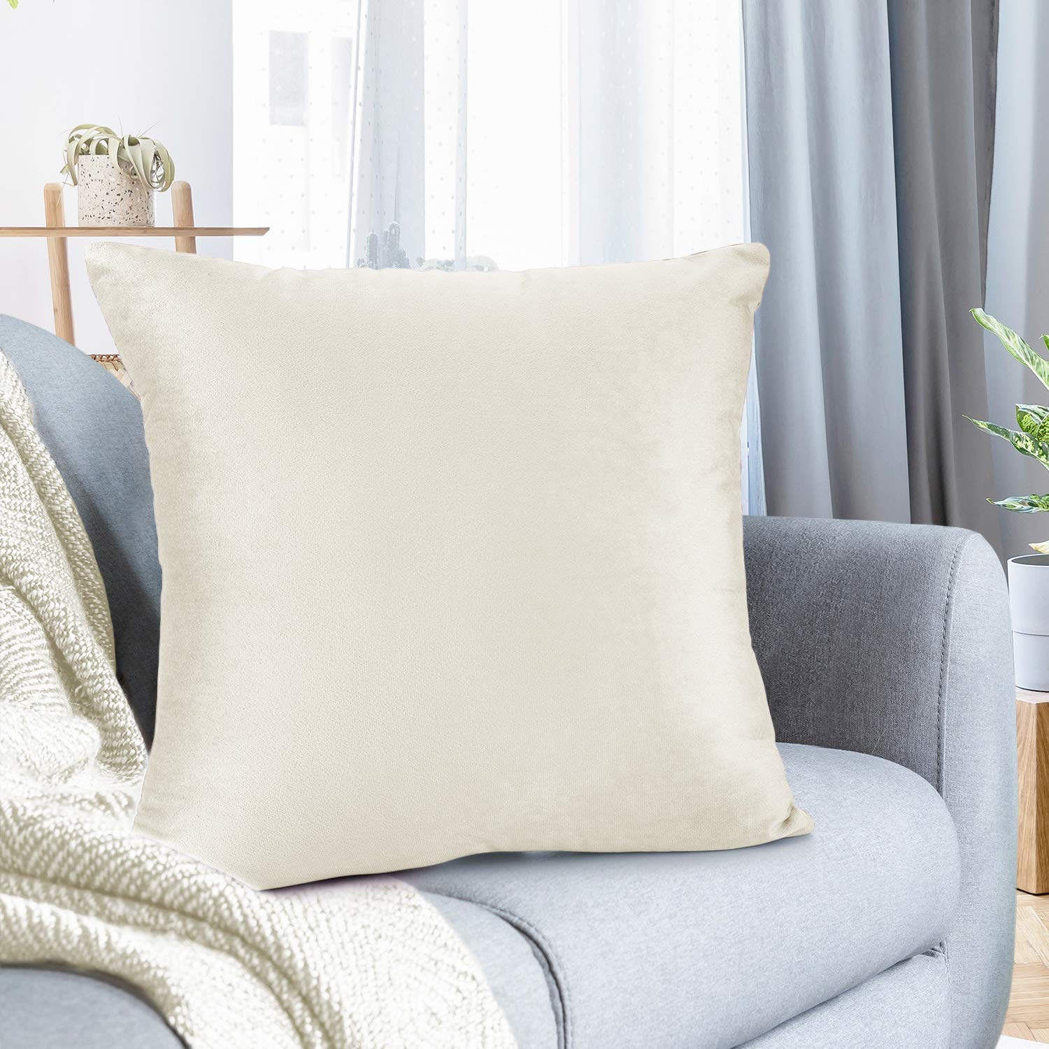 """Nestl Bedding Throw Pillow Cover 16"""" x 16"""" Soft Square Decorative Throw Pillow Covers Cozy Velvet Cushion Case for Sofa Couch Bedroom - Off White"""