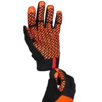 SAFE HANDLER Super Grip Gloves | Textured Grip Palm, Non-Slip Texture, Hook & Loop Wrist Strap, BLACK/ORANGE, S/M