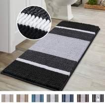 Luxury Chenille Microfiber Floor Mat for Living Room Bedroom, Gradient Black Stripe Pattern Shag Plush Rug, Soft Non Slip Absorbent Bathmat Machine Washable Home Decor, (47×17 inch, Black)
