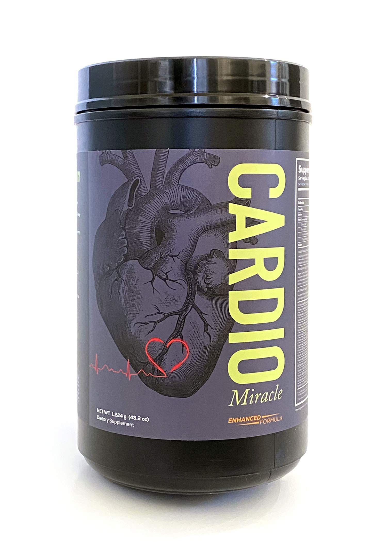 Cardio Miracle (TM) - The Complete Nitric Oxide Solution - Nutritional Heart Healthy L-Arginine and Organic Beetroot Drink Mix (Stevia) 90 Servings