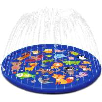 FUN LITTLE TOYS Inflatable Sprinkler for Kids, 66'' Splash Pad for Summer Outdoor, Swimming Pool, Baby Water Toys 2-12 Year Old Boys & Girls